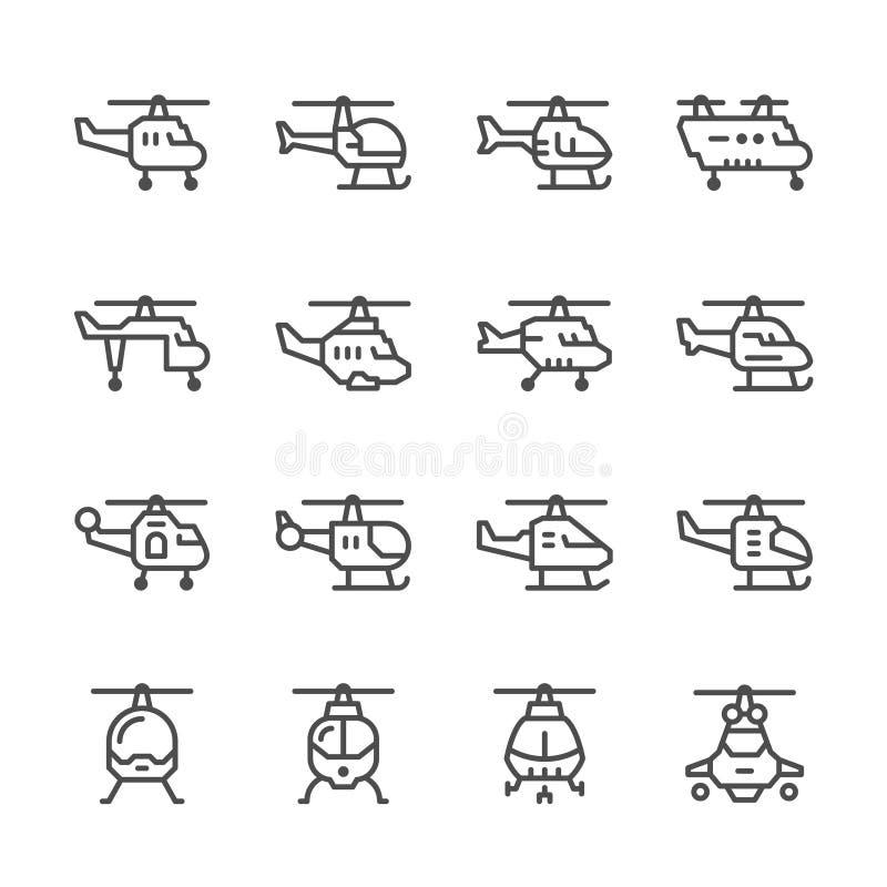 Fastställd linje symboler av helikoptern stock illustrationer