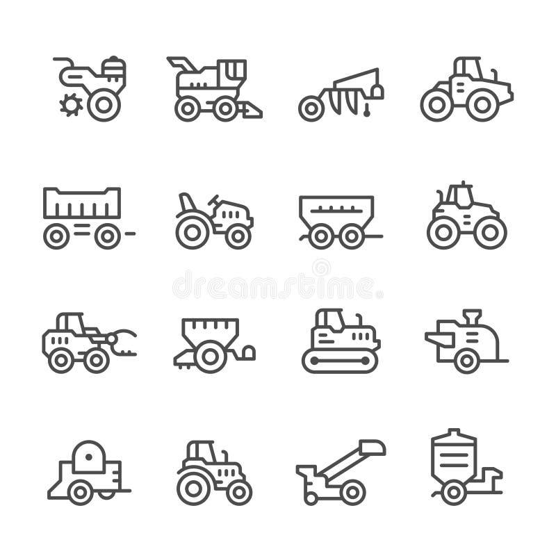 Fastställd linje symboler av jordbruks- maskineri royaltyfri illustrationer
