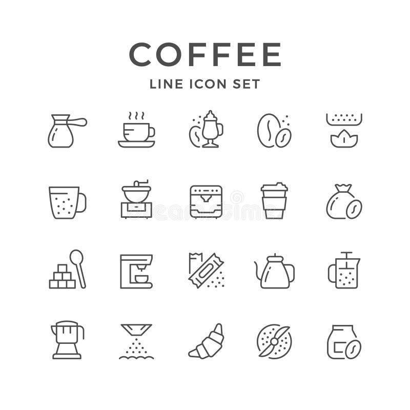 Fastställd linje symboler av kaffe vektor illustrationer