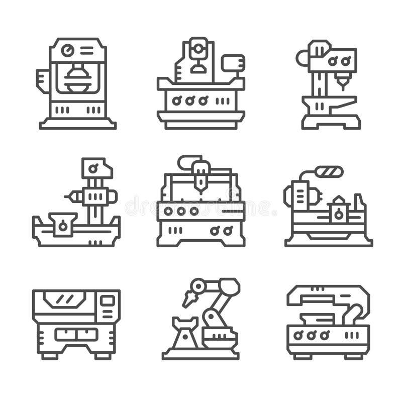 Fastställd linje symboler av maskinhjälpmedlet stock illustrationer
