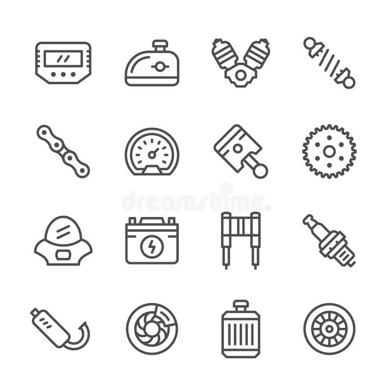 Fastställd linje symboler av motorcykeldelar stock illustrationer