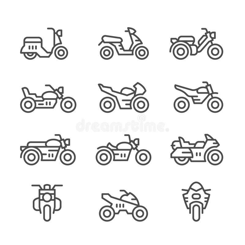 Fastställd linje symboler av motorcyklar royaltyfri illustrationer