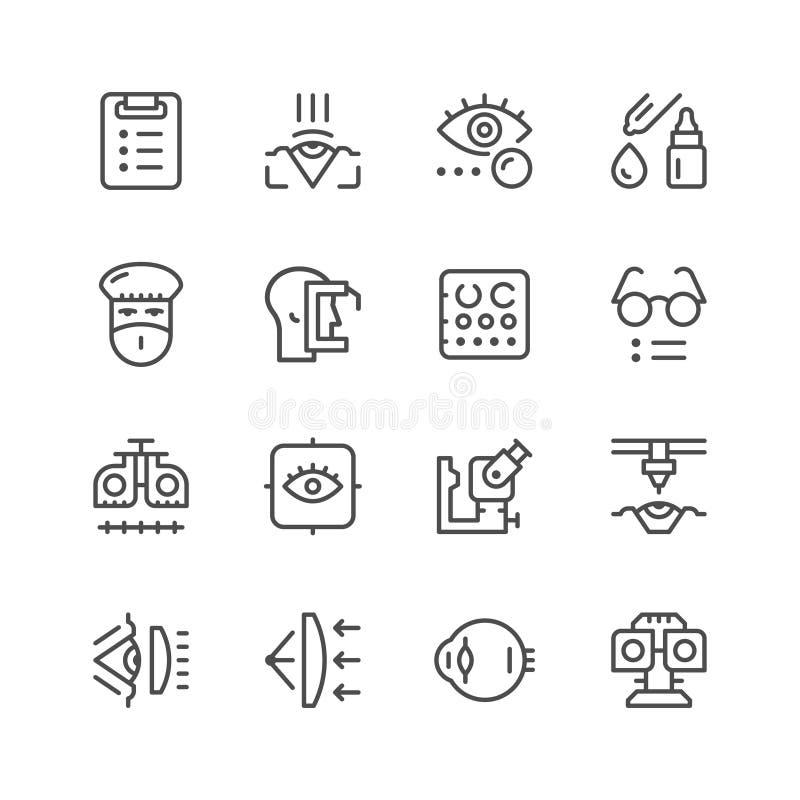Fastställd linje symboler av oftalmologi royaltyfri illustrationer