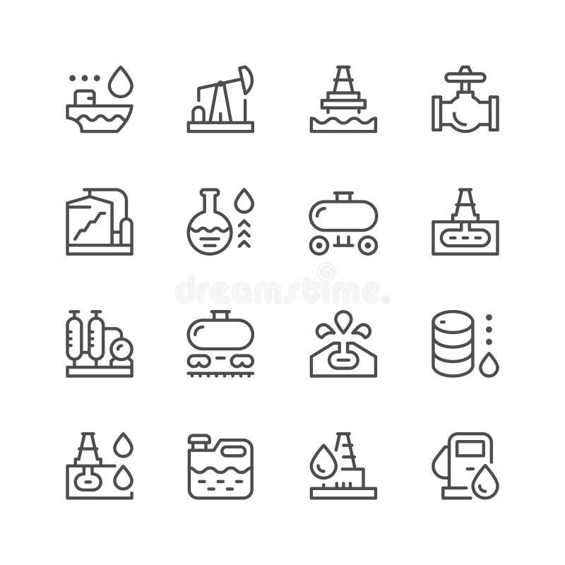 Fastställd linje symboler av oljeindustri royaltyfri illustrationer