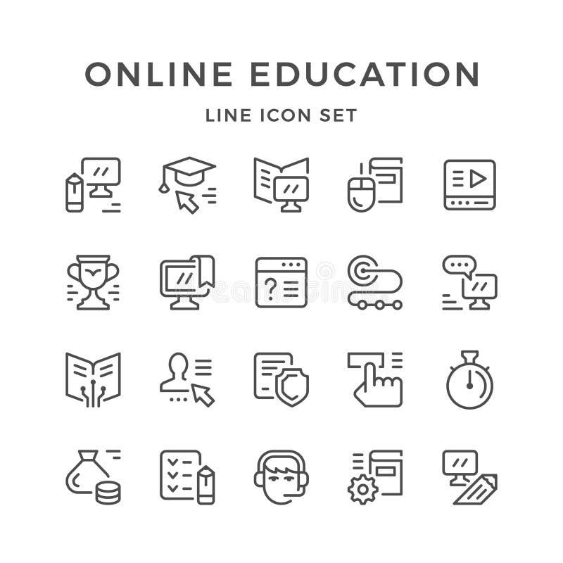 Fastställd linje symboler av online-utbildning stock illustrationer