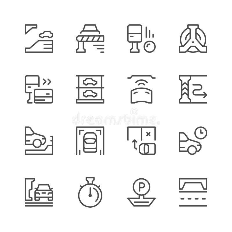 Fastställd linje symboler av parkering royaltyfri illustrationer