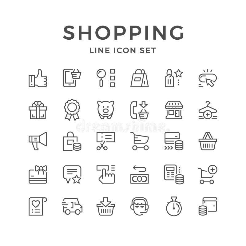 Fastställd linje symboler av shopping stock illustrationer