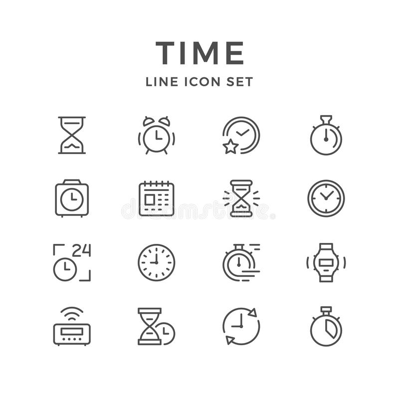 Fastställd linje symboler av tid vektor illustrationer