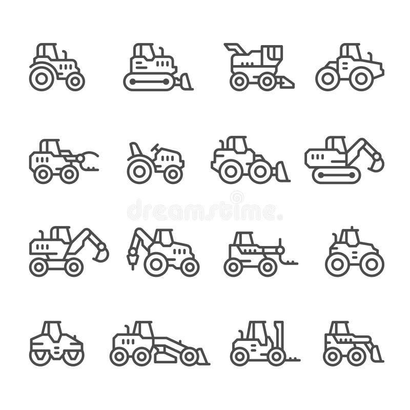 Fastställd linje symboler av traktorer stock illustrationer