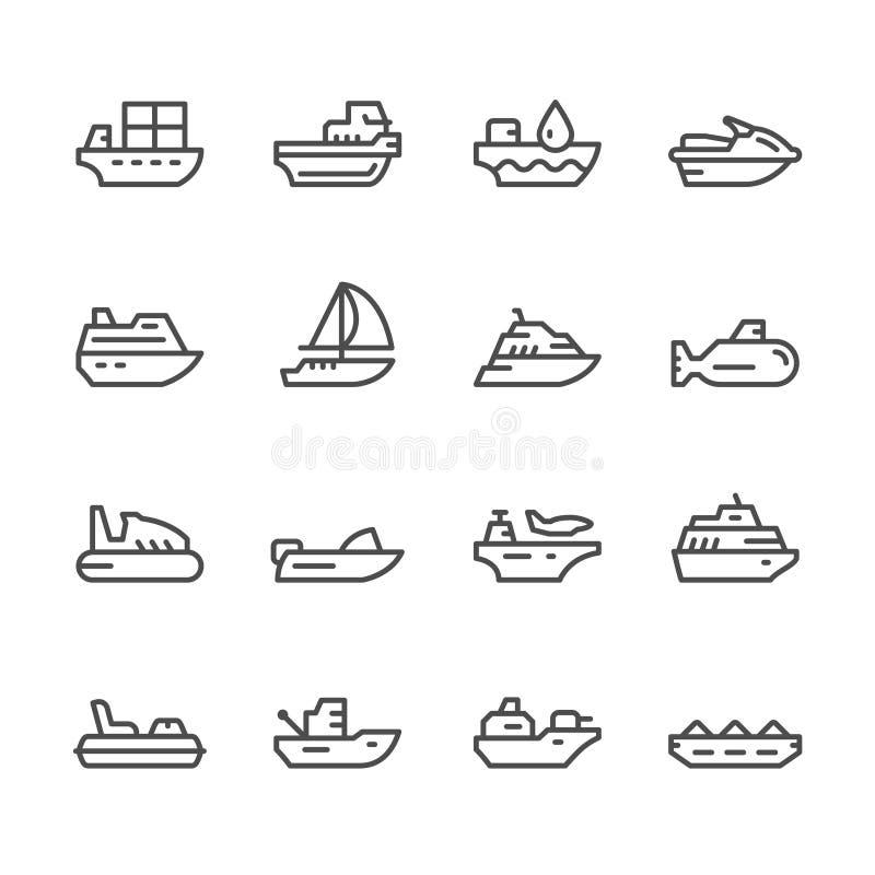 Fastställd linje symboler av vattentransport royaltyfri illustrationer