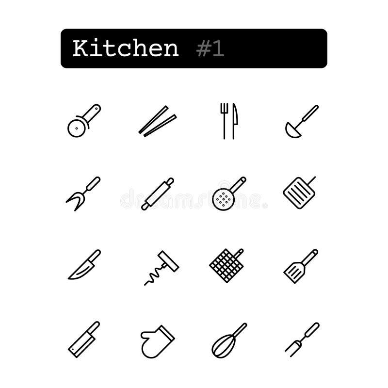 Fastställd linje symboler vektor Kök vektor illustrationer