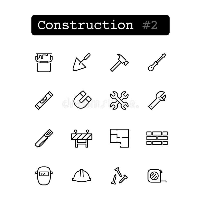 Fastställd linje symboler vektor Konstruktion som bygger royaltyfri illustrationer