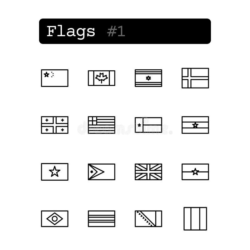 Fastställd linje symboler vektor Landsflaggor vektor illustrationer