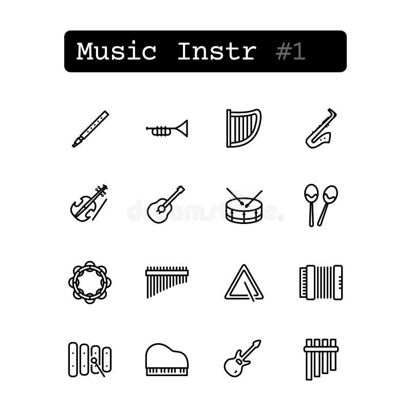 Fastställd linje symboler vektor musikaliska instrument royaltyfri illustrationer