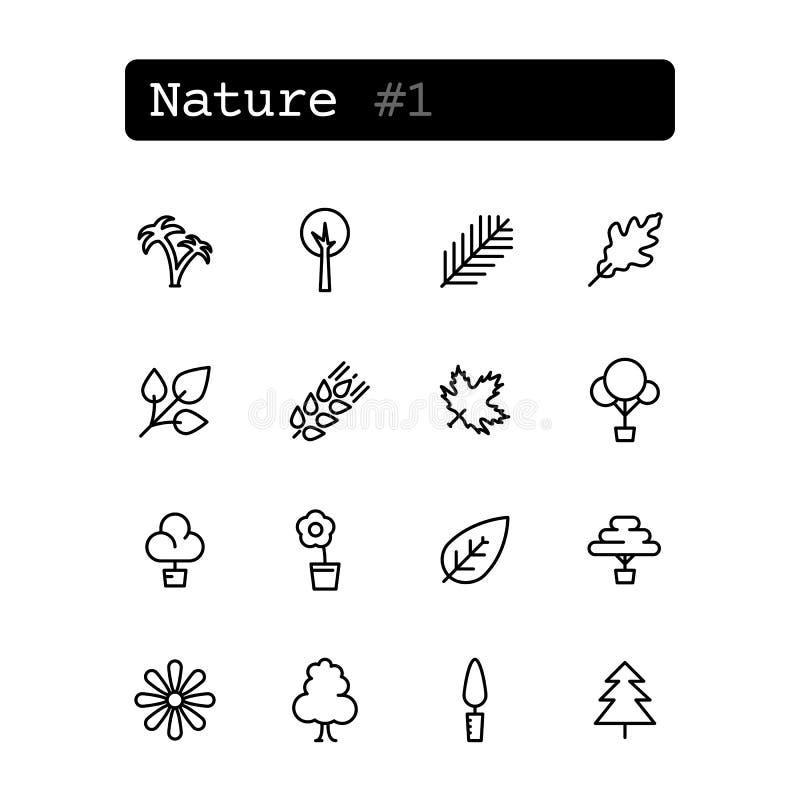 Fastställd linje symboler vektor Natur växter royaltyfri illustrationer