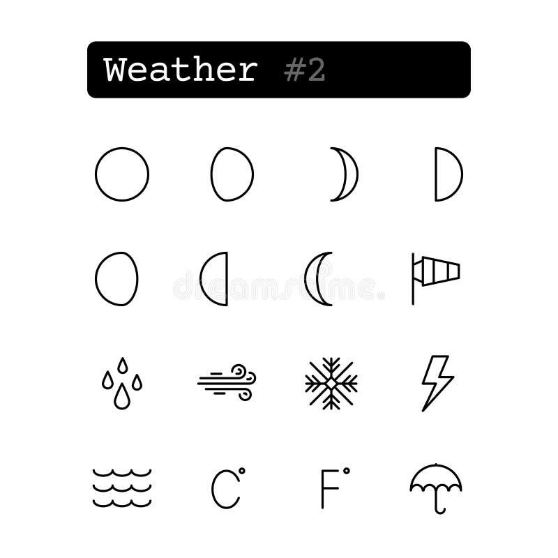 Fastställd linje symboler vektor Väder royaltyfri illustrationer
