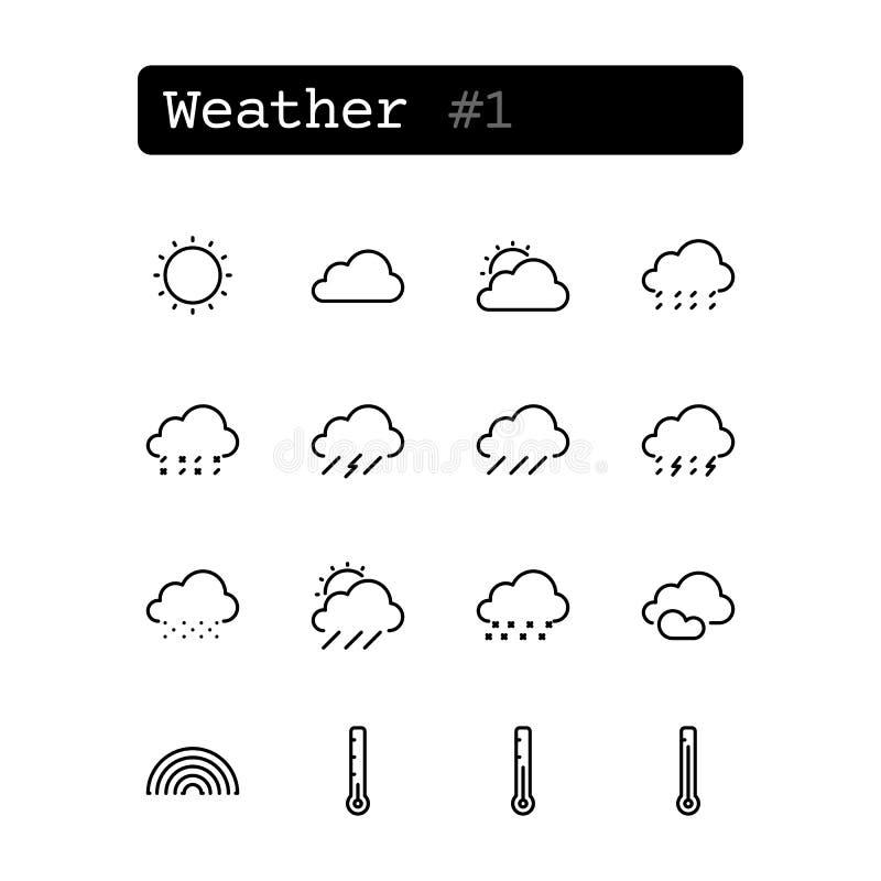 Fastställd linje symboler vektor Väder stock illustrationer