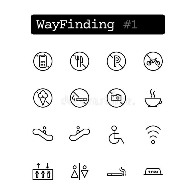 Fastställd linje symboler vektor Wayfinding royaltyfri illustrationer