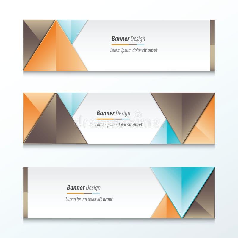 Fastställd ljus modern abstrakt banerdesign, brunt, apelsin, blått Co fotografering för bildbyråer