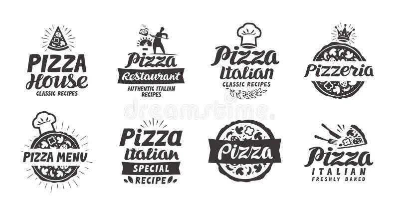 Fastställd logo för pizza, etikett, beståndsdel Pizzeria restaurang, matsymboler också vektor för coreldrawillustration stock illustrationer