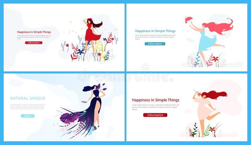 Fastställd lycka i enkel saker Naturligt unikt vektor illustrationer