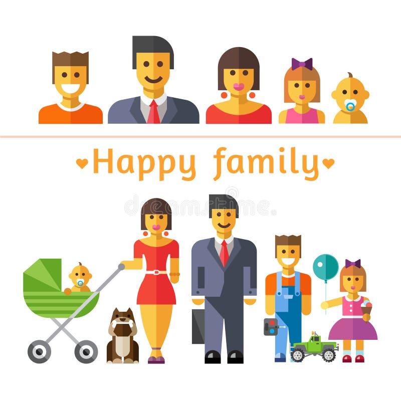 Fastställd lycklig familj för symbol Föräldrar och barn vektor illustrationer
