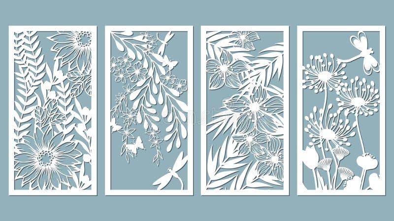 Fastställd mall för laser-klipp och plottare Blommor sidor för garnering också vektor för coreldrawillustration Fastställda blomm stock illustrationer