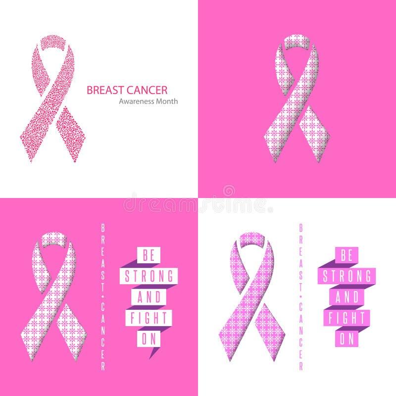 Fastställd medicinsk affisch för bröstcancermedvetenhetband, reklamblad, baner, textslogan, pappers- band av rosa bakgrund för bl vektor illustrationer