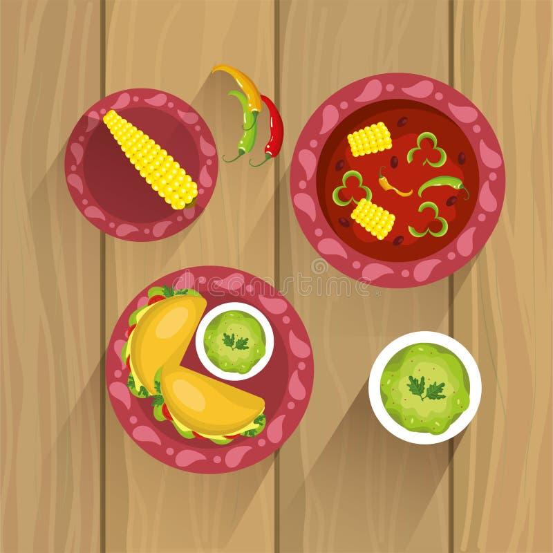 Fastställd mexikansk traditionell mat med såser och majskolven vektor illustrationer