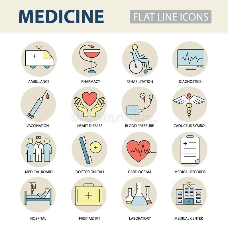 Fastställd modern tunn linje rengöringsduksymboler på medicin- och hälsosymboler stock illustrationer