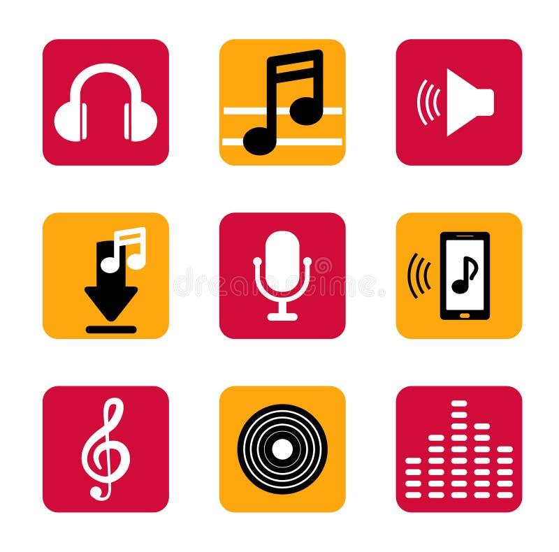 Fastställd musiksymbol i lägenhet För smart telefonapp royaltyfri illustrationer