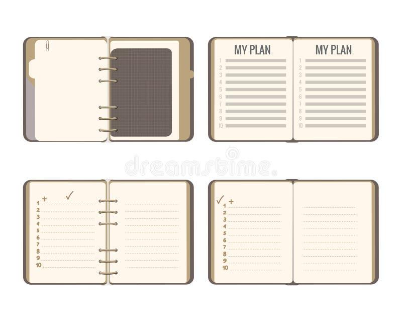 Fastställd Notepadförskriftsbok för vektor på cirklarna med en numrerad lista plan illustration som isoleras på vit royaltyfri illustrationer