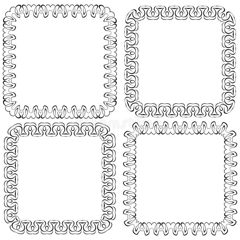 Fastställd openwork vektorram för design royaltyfri illustrationer