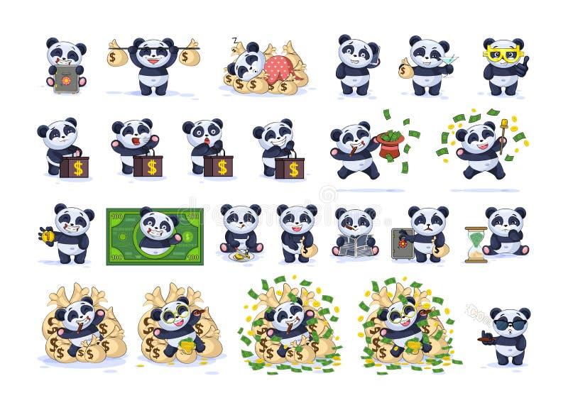 Fastställd panda för tecknad film för satssamlingsEmoji tecken royaltyfri illustrationer