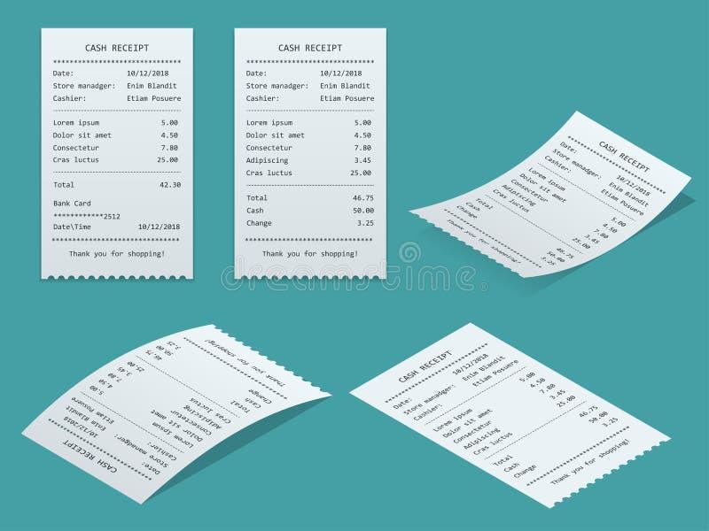 Fastställd pappers- kontroll vektor illustrationer