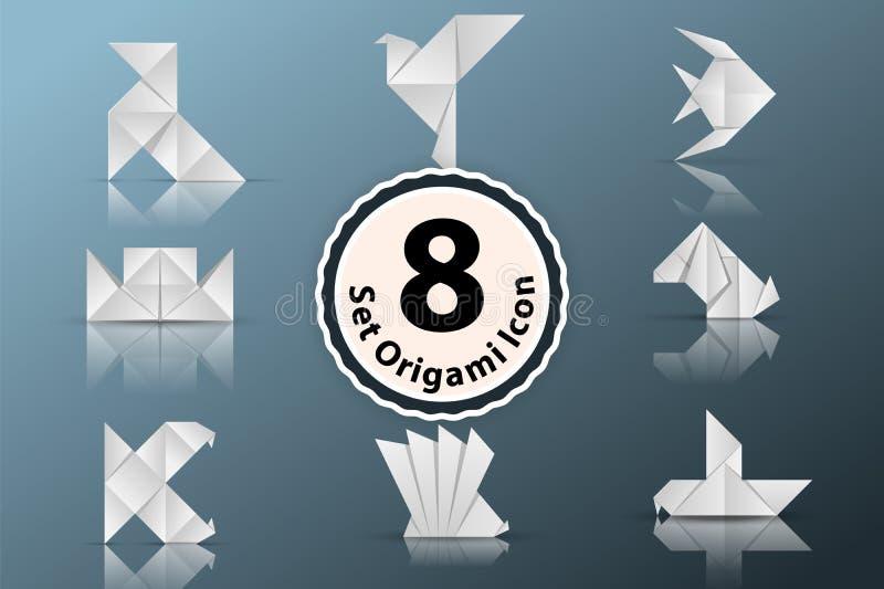 Fastställd pappers- origamisymbol royaltyfri illustrationer