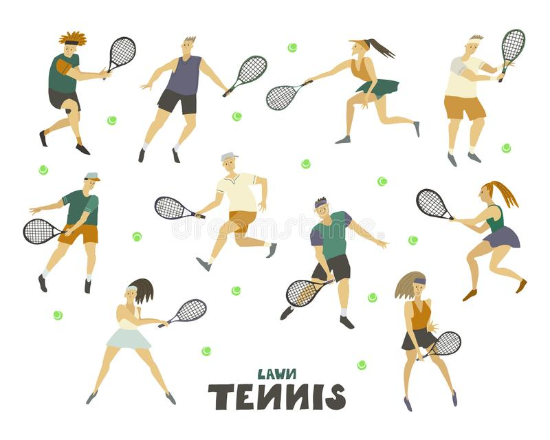 Fastställd pojke Guy Girl för tennisspelaremankvinnor med racket och att klumpa ihop sig det mänskliga diagramet i rörelse vektor illustrationer