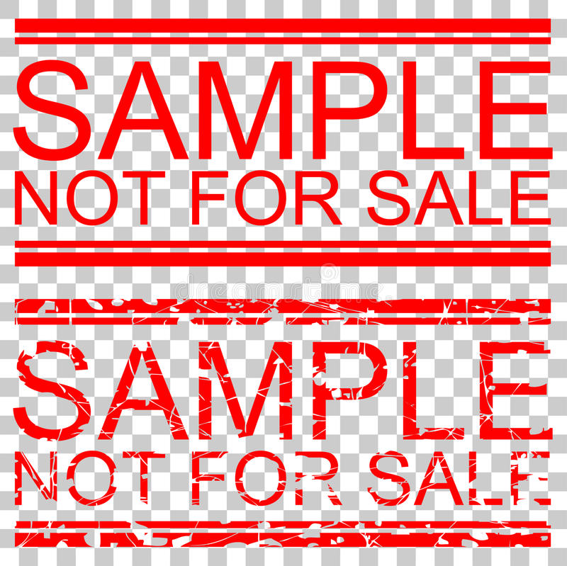 Fastställd röd effekt för den rubber stämpeln, tar prov inte till salu, på genomskinlig effektnackground royaltyfri illustrationer