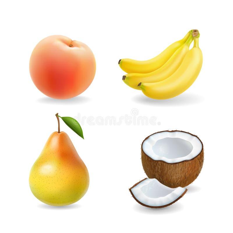 Fastställd realistisk illustration 3d för frukt Banan päron, kokosnöt, aprikos, persika vektor illustrationer