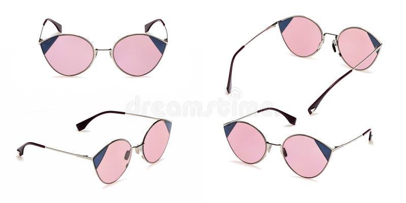 Fastställd Retro rosa solglasögon i den runda ramen som isoleras på vit bakgrund Solglasögon för sommar för samlingsmodetappning royaltyfri foto