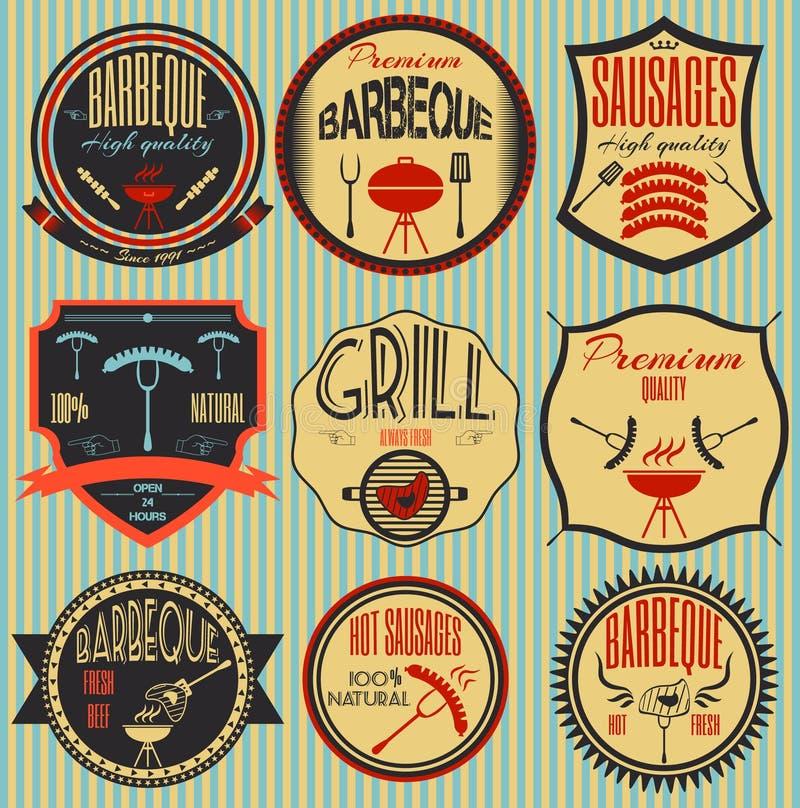 Fastställd retro tappning förser med märke, band och märker hipsterskylten stock illustrationer