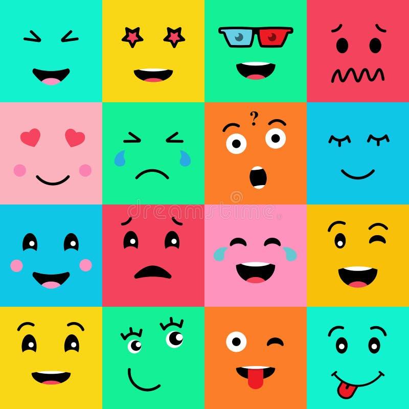 Fastställd samling av 16 roliga sinnesrörelseemojiframsidor Olika framsidor på färgrik bakgrund royaltyfri illustrationer