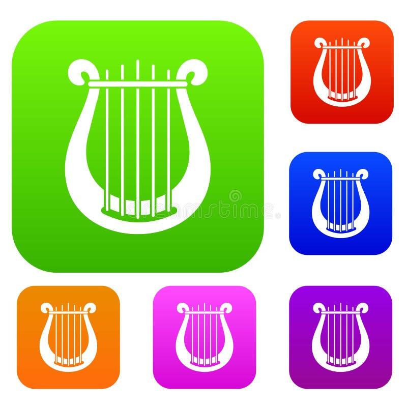 Fastställd samling för harpa royaltyfri illustrationer