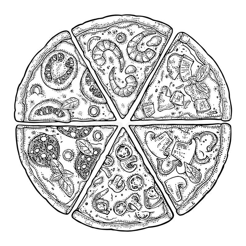 Fastställd skivapizzapeperoni, hawaiibo, Margherita, mexikan, skaldjur, Capricciosa Illustration för tappningvektorgravyr för aff stock illustrationer