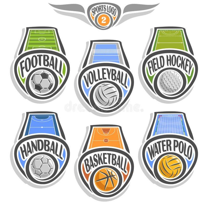 Fastställd sportlogo för vektor stock illustrationer