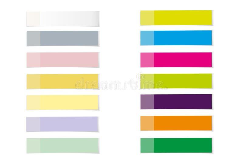 Fastställd stolpeanmärkningsklistermärke Minneslista som isoleras på genomskinlig bakgrund Pappers- klibbigt band med skugga Pinn royaltyfri illustrationer