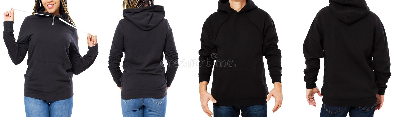 Fastställd svart isolerad framdel för hoodie modell och tillbaka sikter - man och kvinna i stilfull svart tröjaåtlöje som isolera arkivfoton