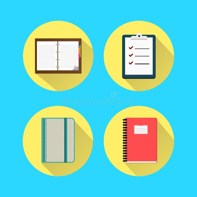 Fastställd symbol för anteckningsbok stock illustrationer