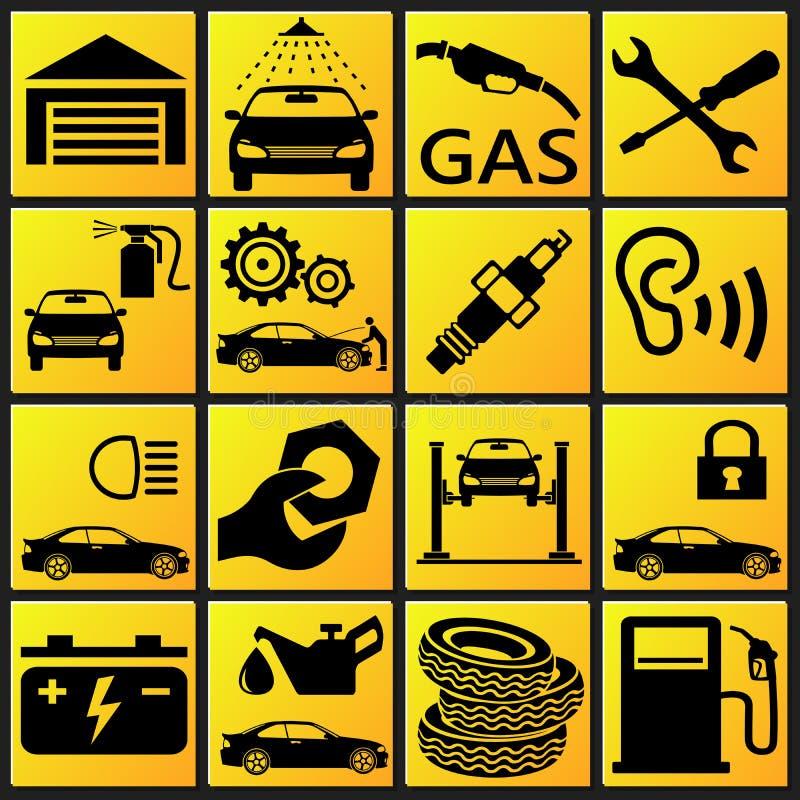 Fastställd symbol för bil vektor illustrationer