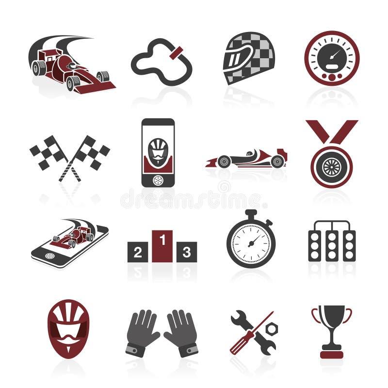 Fastställd symbol för formel 1, sportsymboler och klistermärke royaltyfri illustrationer